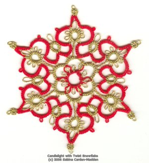 red/gold candlelight snowflake